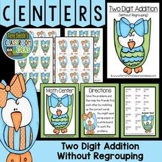 Addition of Two Digit Numbers Without Regrouping includes ~ Center cover, math center sign, four pages of playing cards, student directions and a self-checking answer key. #FernSmithsClassroomIdeas #TpT $