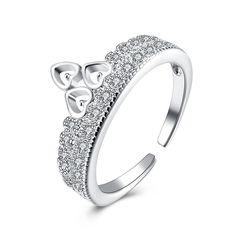 YUEYIN Luxury Ring Sweet Heart Crown Zircon Ring Women Gift #Jewelry #fashion #style #women