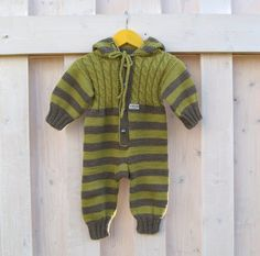 Green baby overalls baby knitwear hand knitted green by NesyBaby