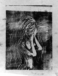 Edvard Munch - Woman Holding her Hands up to Her Mouth (1898-1900?)