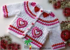 Heart Sweater by pattern-paradise.com #crochet #sweater #valentines