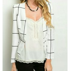 Black and White Blazer Multi-purpose jacket. Goes great with any color. Great for Spring! 100% Polyester. S-M-L available. Ready to ship! Jackets & Coats Blazers