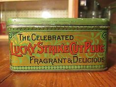 Vintage-Lucky-Strike-R-A-Patterson-Tobacco-Tin-Advertising-LOT-T305-8-Ounces