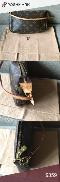 Louis Vuitton pochette accessoires Cute Louis Vuitton monogram pochette in wonderful preloved condition. Side tab leather looks and feels almost brand new. Canvas is in great condition. Leather strap showing minor wear. Dust bag included. Slight/none odor. At lollipuff dot com, available for auction. Currently winning price is 230, ending soon. Louis Vuitton Bags Clutches & Wristlets