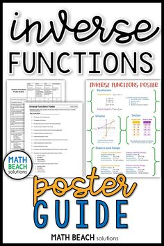 Have you ever wanted to assign a project but just didn't have the time to create project instructions and a rubric? The inverse functions poster guide has a straightforward checklist of required elements for students to use to design their project and a ready-to-use grading rubric for easy project grading. #algebra2 #precalc #project Algebra 2 Activities, Algebra 2 Worksheets, Algebra 1, Poster Rubric, Inverse Functions, Guided Math, Rubrics, Lesson Plans, Students