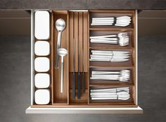 Poggenpohl Accessories - Drawer with spice jar bank, knife block and cutlery insert - nut tree