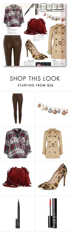 """""""HotLeather."""" by eclectic-chic ❤ liked on Polyvore featuring Ralph Lauren Black Label, DwellStudio, River Island, Jaeger, Rebecca Minkoff, NARS Cosmetics, leatherpants, plaidshirt and holidaystyle"""