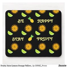 Shop Fruity Juice Lemon Orange Yellow Happy Pattern Mouse Pad created by ONME_Prints. Yellow Pattern, Custom Mouse Pads, Stay Happy, Corner Designs, Marketing Materials, Mousepad, Office Gifts, Orange Yellow, Juice