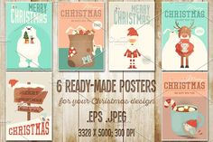 Merry Christmas Posters Set by elfivetrov on @creativemarket