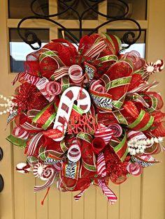 Christmas Deco Mesh Wreath Christmas Wreath Merry by BlondeMoxie