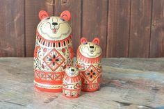 Russian bear matryoshka, babushka russian nesting doll (3 pcs.) by nordfolk on Etsy https://www.etsy.com/listing/229843799/russian-bear-matryoshka-babushka-russian