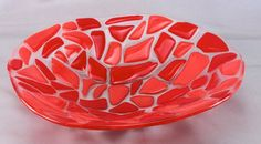 Wavy Red Orange and Clear Mosaic Stones Fused by ScarletRidgeGlass Fused Glass Plates, Glass Bowls, Fused Glass Art, Plates And Bowls, Mosaic Stones, Fusion Art, Glass Photo, Art Pieces, Sculptures