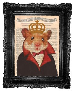 Hamster King - ORIGINAL ARTWORK   Hamster  print Hand Painted Mixed Media Art Print on Vintage book on Etsy, $10.00