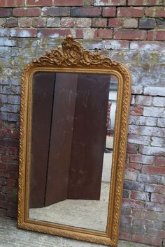 Crested Gilt Mirror with Original Glass by Louis Philippe