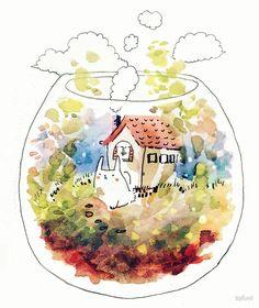 rabbit's terrarium home by tofuvi
