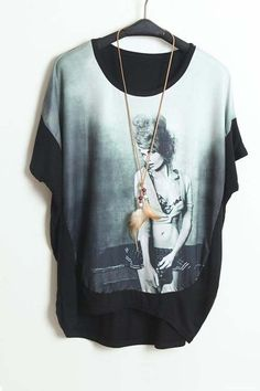 Mix together loose round collar short sleeve T-shirt