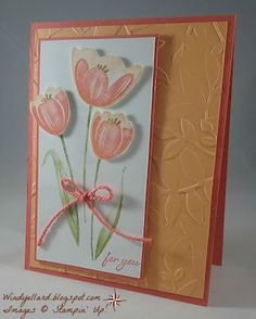 Windy's Wonderful Creations: Tulips In Calypso Coral  Stamp sets: Tranquil Tulips and Graceful Garden   Ink: Old Olive, Peekaboo Peach, Calypso Coral  Paper: Calypso Coral, Peekaboo Peach, Whisper White  Layered Leaves emboss folder,   Calypso Coral twine (vintage)