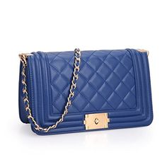 4ec9ea2a2cb Dasein Women s Designer Quilted PU Leather Twist Lock Crossbody Bag  Shoulder Bag Fashion Handbags w  Chain Strap (Blue)