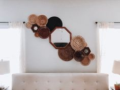 Vintage Basket Wall Hanging Collage Gallery - Farmhouse Boho Style - Set of 12 Baskets & 3 Mirrors - Golden Blonde, Mahogany tones - Vintage Basket Wall Hanging Collage Gallery Farmhouse Boho Diy Hack, Hacks Diy, Art Hacks, Do It Yourself Inspiration, Vintage Baskets, Boho Living Room, Basket Decoration, Baskets On Wall, Wall Basket