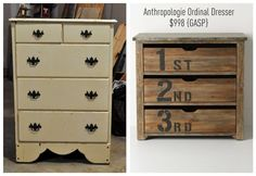 Turn your ugly dresser into a stunning Anthro Ordinal Dresser  for only $30! {Knock Off Style}