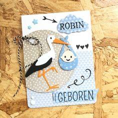 Vorige week werd een lief vriendinnetje van mij mama van de knappe Robin. Ik maakte dit kaartje voor de kersverse ouders. Ik heb allemaa...