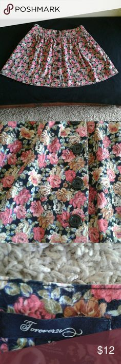 """High Waisted  Forever 21 Floral Button Down Skirt Adorable floral high waisted skirt from Forever 21. Button down waist and front.  Size Small, NO stretch.  Waist is 27"""" when laid flat. Forever 21 Skirts A-Line or Full"""