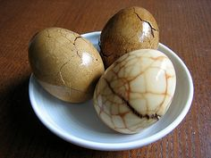 Tea Eggs (cha ye dan): A cheap snack food, found all over China. In spite of the name, tea is not the dominant flavour.