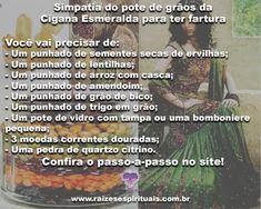 Simpatia do pote de grãos da Cigana Esmeralda para ter fartura Lentils, Peanuts, Seeds, Jars, Rice