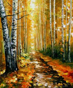 Autumn Birches  PALETTE KNIFE Oil Painting by AfremovArtGallery