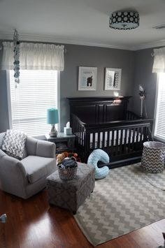 Thinking about going for a more modern and masculine look for your baby's nursery design? This gray and blue chevron nursery would be perfect for your little boy.