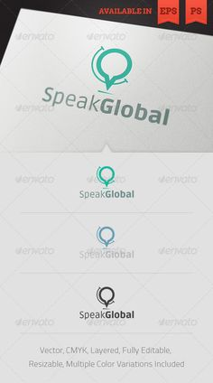 Speak Global Logo Template #GraphicRiver Simple, clean and modern logo template perfect for a wide range of new media businesses like: