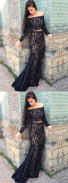 Lace Prom Dresses,Long Prom Dresses,Black Prom Dresses 2018,Trumpet/Mermaid Formal Prom Dresses Off-the-shoulder, Modest Evening Dresses Beading #blackdresses #eveningdresses