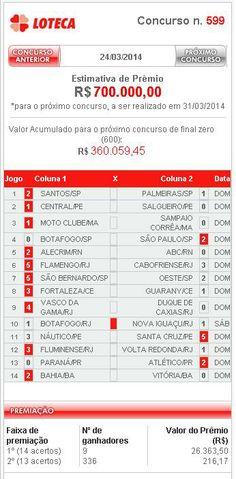 L O T E C A 599 - ÚLTIMO RESULTADO - APURAÇÃO 24/03/2014