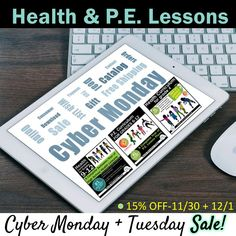 TeachersPayTeachers #1 best-selling Health and P.E. curriculum is on SALE for Cyber Monday, + also Tuesday 11/30-12/01!!! Get elementary, middle, and high school HEALTH, and 6th-12th P.E. lessons and TONS OF GOOGLE DRIVE PRODUCTS for ONLINE LEARNING!