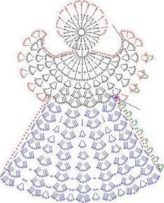 Tricô e Crochê - Knitting and Crochet: Enfeite de Natal em Crochet - Anjo Natalino Crochet Angel Pattern, Crochet Angels, Crochet Motifs, Crochet Diagram, Crochet Chart, Thread Crochet, Filet Crochet, Knit Crochet, Crochet Fabric