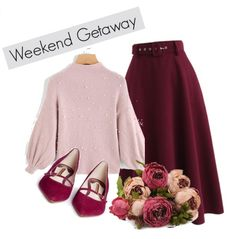 Burgundy and blush outfit