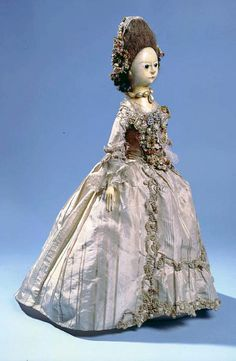 Doll in original sack gown and petticoat, 1770-1780, Englash