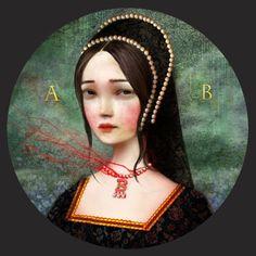 Queen Anne Boleyn Portrait - Beheaded Tudor Anne Boleyn art, french hood, surrealist art by Lisa Falzon Wives Of Henry Viii, King Henry Viii, Tudor Dynasty, Queen Art, Tudor History, British History, Anna, Anne Boleyn, Art For Art Sake