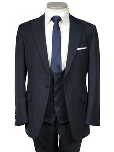 Navy suit in light weight pure super 120 wool slim fit with a scoop neck waistcoat  £150.00 to hire   ALSO AVAILABLE IN BLACK AND GREY