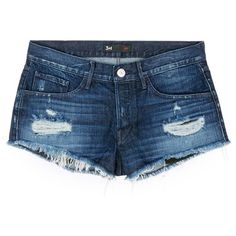 3x1 'WM5' distressed cutoff denim shorts (615 BRL) ❤ liked on Polyvore featuring shorts, bottoms, jeans, pants, blue, fringe jean shorts, cuffed denim shorts, ripped denim shorts, denim shorts and distressed denim shorts
