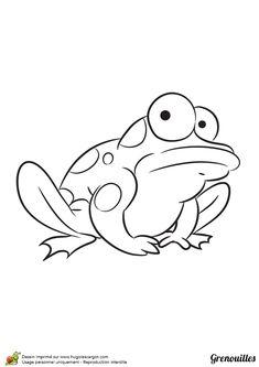 Dessin à colorier d'une grenouille qui semble indécise.