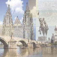 PRAGUE COLLAGE 12x12 Scrapbooking (2) Papers CZECH REPUBLIC