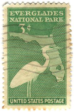 Everglades National Park - United States 3 cents Postage Stamp from 1946 Rare Stamps, Old Stamps, Vintage Stamps, Ville New York, Commemorative Stamps, Postage Stamp Art, Going Postal, Vintage Florida, Stamp Collecting