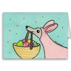 Pink Easter Bunny Greyhound Greeting Card #zazzle #easter
