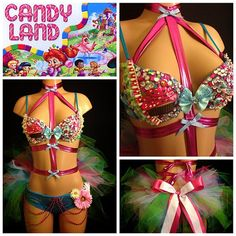 Candyland Surprise Rave Bra & Bottoms with Bow Tie, Costume For EDC, Electric Daisy Carnival, Ultra, EDM Festivals, Tomorrowland