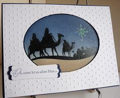 Come to Bethlehem - Ink: SU: Crumb Cake, Bordering Blue, Brocade Blue, Night of Navy (like the use of crumb cake for sand)