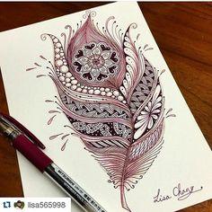 #mulpix #Repost @lisa565998 ・・・ #A Mandala feather #Zendala #zentangle #Mandala #Lisa #Taipei #Taiwan #Zentangle #ZIA #doodle #painting #drawing #feather #peacock #animal #tree #rabbit #animal #flower