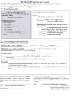 Free Printable Cleaning Contract Forms  Services  Green House