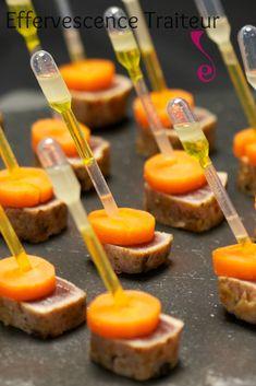 Tataki de thon et carotte, pipette de vinaigrette au gingembre