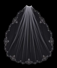 Pearl Flowers Embroidered Wedding Veil